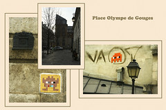 Paris 03 - place Olympe de Gouges (Olivier Dubrasquet) Tags: city urban paris france building architecture facade french triptych district invader capitale triptyque ville gouges olympe 75003 yabbadabbadoo odlive