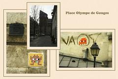 Paris 03 - place Olympe de Gouges (Olivier Dubrasquet) Tags: city urban paris france building architecture facade french triptych district invader capitale triptyque ville gouges olympe 75003 yabbadabbadoo odlive