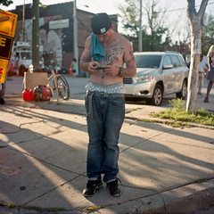 (patrickjoust) Tags: street city portrait people urban usa man southwest color 120 6x6 tlr film tattoo analog america square lens person us reflex md focus phone pants mechanical kodak united north patrick twin maryland baltimore mat 124 negative pro medium format states manual expired 80 joust sagging yashica estados 160 c41 unidos sowebo yashicamat124 ektacolor kodakektacolorpro160 autaut patrickjoust