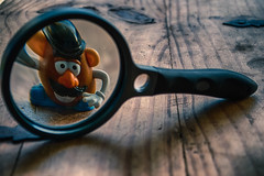 I'm Ready For My Close Up (hbmike2000) Tags: wood glass fun toy happy nikon distorted toystory grain disney plastic potato nostalgic mrpotatohead d200 upclose hdr magnify hss magnifyglass niksoftware coniving futuredinner sliderssunday hbmike2000