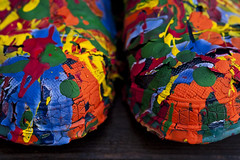 Galoshes covered with paint (Jim Corwin's PhotoStream) Tags: stilllife abstract art strange horizontal closeup creativity photography boot design mix colorful peeling paint pattern boots unique patterns painted steps visualarts craft dry nobody symmetry odd covered simplicity messy eccentric mixing unusual brightcolors variety conceptual streaked multicolored striking simple contrasts bizarre variation stylish distinct mixtures memorable layered uncommon visualartists splattered vibrantcolors driedpaint decisionmaking designarts mixingcolors dripped drippingpaint texturedeffect multicoloredpaints