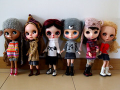 My girls in beautiful knitted sweaters and dress by talented Coco dolls!