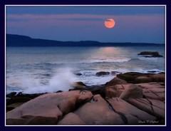 Acadian moonrise (edenseekr) Tags: ocean waves rocky atlantic moonrise coastline acadianationalpark digitallypainted