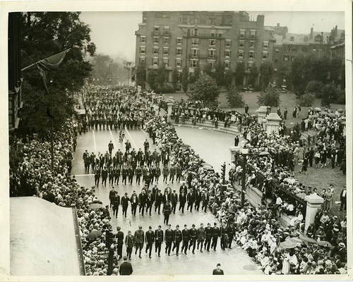 Victory Parade, legionnaires passing State House reviewing stand