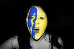 Paint (juliacait) Tags: portrait selfportrait art me girl blackbackground work painting myself photography university darkness lol anger drip portraiture scream angry uni colourful facepaint coursework shout selfie blueyellow remoteshutterrelease artfoundation juliabourke painttastesgross