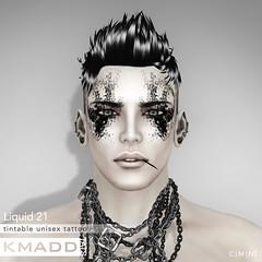 KMADD Tattoo ~ Liquid 21 (www.kmaddmoda.com) Tags: tattoo avatars secondlife facialtattoo maddoxdupont kmadd kmaddtattoo kmaddtats kmaddmoda