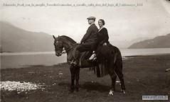 Edmondo Prati con la moglie TeresitaScanavino a cavallo sulla riva del lago di Caldonazzo 1934
