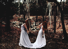315 of 365 (Stellie Chavez) Tags: white black forest twins paint dress conceptual demons whitedress conceptualphotography conceptphotography vision:outdoor=0877