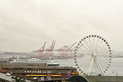 Seattle Eye (rschnaible) Tags: seattle november usa cold eye wet rain wheel ferry harbor pier washington day waterfront place northwest market sightseeing ferris tourist rainy wa destination pike touring pacitic