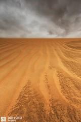 Kuwait - Alsalmi Desert - Dramatic Cloud Over Desert Ripples Texture IIII (Sarah Al-Sayegh Photography | www.salsayegh.com) Tags: sunset clouds landscape desert kuwait  landscapephotography   stateofkuwait  leefilters  canoneos5dmarkiii canon5dmark3 wwwsalsayeghcom sarahhalsayeghphotography infosalsayeghcom