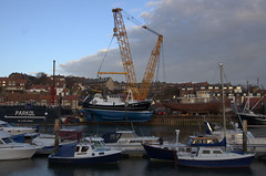 Launching the the Guding Star (yogi59) Tags: new england mobile river star marine britain crane yorkshire united great north kingdom east whitby 1200 hull launch build trawler ton guiding esk sarens gottwald parkol h360 ak6803