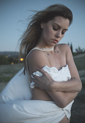 Pierce Hill Tops (MonicaJane_) Tags: sunset portrait beautiful fashion female photography twilight model windy pearls tattoos strong pearlstrands flowingfabric canon6d alwaysgrowing