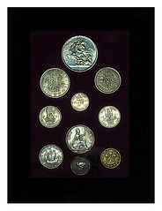 pre decimal (ikkio_too) Tags: coins crown halfcrown florin 2shillings sixpence shillingbob penny 3pennybit farthing olympus omdem1 1240mm picasa