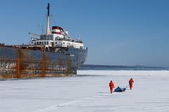 Careful (Bert CR) Tags: ice icefishing survivalsuit fishing careful notsolid winter wintersport sportfishing probing