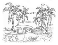 Dorko Shell Beach (rod1691) Tags: bw solanabeach scifi alien greys concept custom carf retro space hotrod drawing pencil original story fantasy funny automotive art moonpie greyscale california car solana beach