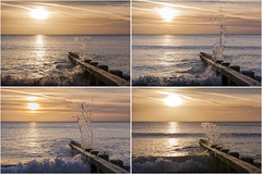 Swanage Splash Sunrise Montage (Photograferry) Tags: dorset southcoast uk nopeople outside landscape nature isleofpurbeck coast dawn groyne ocean sea sunrise swanage waves clouds frozenmovement