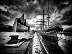 The Riverside and the Tall Ship (Stuart D Robertson) Tags: architecture zahahadid glasgow blackandwhite tallship riversidemuseum
