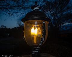 One Bulb Out (that_damn_duck) Tags: light lightbulbs lamp lightfixture raindrops nighttime