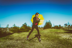 Spring Fashion (Haroldas Targonskas) Tags: umbrela fashion spring yellow film levitation portrait