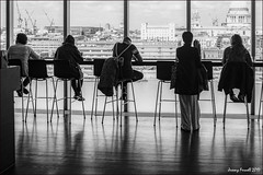 A modern vista (zolaczakl) Tags: blackandwhite mono monochrome london photographybyjeremyfennell april 2017 uk england tatemodern figures smoke cafe vista southwark fujix100s