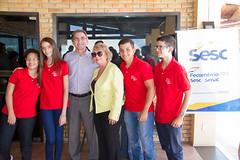 Presidente Marcelo Queiroz e Jeane Amaral com os alunos que irão ingressar este ano na Esem