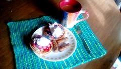 Breakfast! (Maenette1) Tags: breakfast coffee sausages waffles berries whippedcream mug plate placemat menominee uppermichigan flickr365