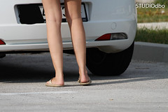 ON THE ROAD-18 (leremita) Tags: woman white walk sweat feet legs heel green wrinkles toes street fun summer sun outdoor young blue dirty size girl light silk colorfull soles long cooling sole dolls play ass barefeet barefoot hair face shapely shadow smell sandals flipflopps gloves shoes jeans black slippers nice