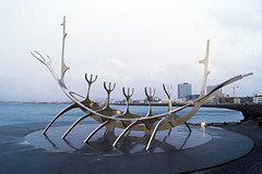 The Sun Voyager - Reykjavic (nickturner5) Tags: iceland coast coastline sea scandinavia winter reykjavic sunvoyager sun voyager viking longboat sculpture
