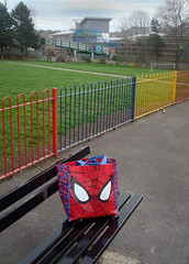 spiderman in the park (marti mann) Tags: spiderman burleypark leedsparks surreal iconography