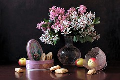 Happy Easter...! (Esther Spektor - Thanks for 12+millions views..) Tags: stilllife naturemorte bodegon naturezamorta stilleben naturamorta composition creativephotography arrangement artisticphoto easter holiday tabletop spring flowers bouquet bowl box lid food cookies fruit apple glass pattern availablelight reflection white pink green yellow red mauve brown estherspektor canon