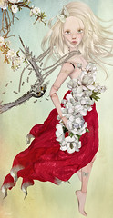 Incoming (Jewel Appletor aka Karalyn Hubbard) Tags: flight bird gown windy flowers whimsical fantasy art artist artwork collaboration doll broken
