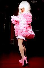 Panty Flashing 2 (jensatin4242) Tags: sissy sissymaid crossdresser transvestite jensatin pink taffeta frilly panties petticoats maryjanes fishnets