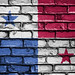 National Flag of Panama on a Brick Wall