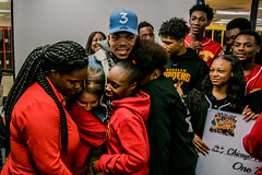 Chance the Rapper with Robeson High School Students (Joshua Mellin) Tags: chancetherapper chance chancellorbennett coloringbook 2017 donation cps chicagopublicschools paulrobesonhighschool robesonhighschool paul robeson high school hiphop rap highschool newera 3 hat babyblue jeanjacket fashion press pressconference kids chicagobulls chicago bulls joshuamellin photography photos pics pictures best socialworks rapper rollingstone cover color colorful bold images philanthropy tour
