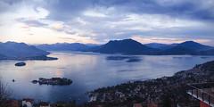 Souvenir... (Lolo_) Tags: dusk lake pano lacmajeur maggiore lago stresa isola îlesborromées borromeanislands isolabella verbania city mountains italy italia italie sunset