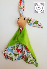 Bunny Blanket Dinos (Polar Bear Creations Dolls) Tags: blanket blanky cozy babytoy toddlertoy babyshower waldorf waldorfinspired natural naturaltoy schmuse