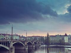 Stormy Skies over Vltava River (RumJon) Tags: prague praga praha chech czech republic czechrepublic sunset storm stormy sky skies clouds river vltava cityscape city