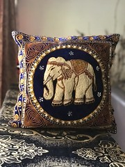 Lovely hand-stitched embroidered cushion cover... elephant motif on royal blue velvet (MagDev) Tags: embroidered handstitched cushioncover elephantmotif beadwork sequins throwpillow cambodia pillowcase