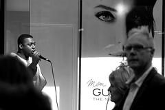 Street rap, Canterbury (chrisjohnbeckett) Tags: street urban rap music people canterbury monochrome bw blackandwhite portrait candid canonef135mmf2lusm chrisbeckett cinematic performer