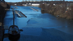 The last ice for this season? (mpersson60) Tags: sverige sweden stockholm karlbergskanalen båt boat is ice vatten water slott castle