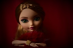 this haze of red and gold (jessandgrace) Tags: doll portrait colorimage colors closeup figure hands beads braids face eyes lips light shadow hair strawberryblonde greeneyed red golden ashlynnella eah everafterhigh pretty beauty glamour cute indoor