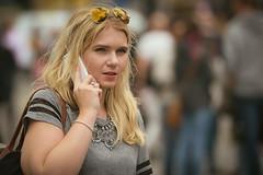 Good Listener (Stuart Mac) Tags: street candid woman iphone lipstick face portrait sunglasses jewellery ring eyes
