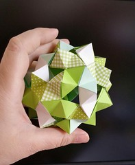 12 Stripes (Aneta_a) Tags: origami modularorigami paperstrips green icosahedralsymmetry rhombicosidodecahedron