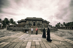 What you seek is seeking you. Love. (Prabhu B Doss) Tags: prabhubdoss belur temple hindu islam india incredibleindia clouds templearchitecture chennakesava hoysala burkha muslim woman