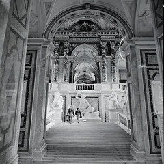 The Great Stairway (Rene'D.) Tags: wien vienna austria bw bnw sw analog analogue film schwarzweiss schwarzweis monochrome monochrom khm kunsthistorisches museum grosse grose stiege street streetphotography streetfotografie streetfoto stair stairway staircase