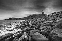 Dunstanburgh Castle Northumberland (Latitude53 Photography) Tags: dunstanburghcastle northumberland landscape seaview sea exposed castle rockbeach rocks water blackandwhite monochrome nikon 1224mm tokina wideangle d7000