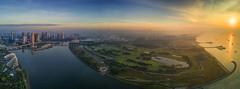 s 2017 Apr09 DJI Barrage Cityscape_Panorama1 (Andrew JK Tan) Tags: 2017 marinabarrage marinasouth gardensbythebay singapore dji mavic aerial sunrise golfcourse