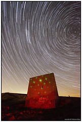 Sound Mirror at Abbots Cliff (seb a.k.a. panq) Tags: night stars startrails st lp lightpainting sebastianbakajphotography noctography abandoned soundmirror red laser