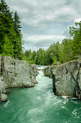 Waterfall among cliffs in Whistler, Canada (Mantas Volungevicius) Tags: whistler canada british columbia resort hike nature national park water waterfall cliffs 2016 summer cloudy north america natural trees river nikon d7000 clouds