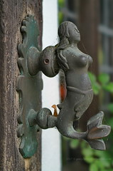 Impressed by the knockers on the front door at St Mary's House, Bramber (Gary-West Sussex) Tags: doorknocker knockers mermaid stmaryshouse bramber fishtail